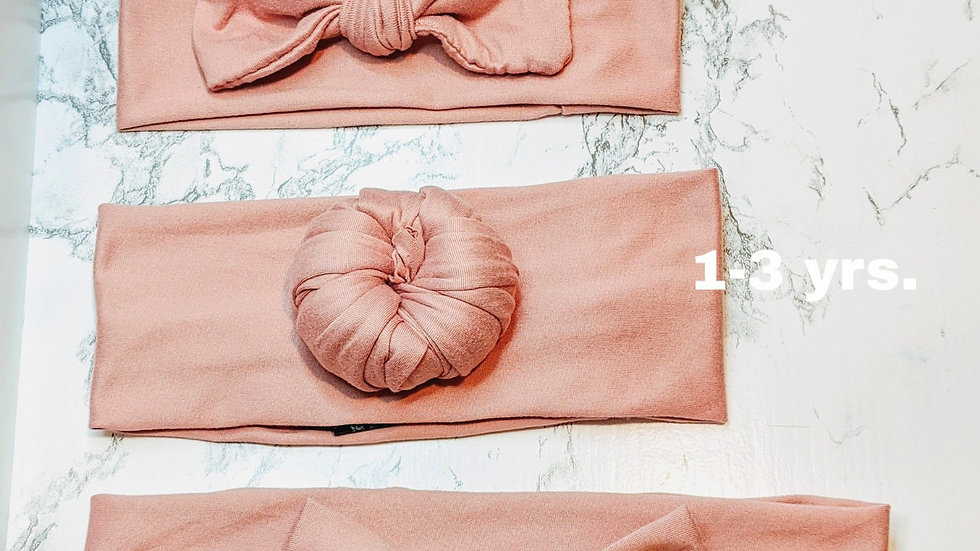 Baby, Toddler, and Adult mauve pink headbands