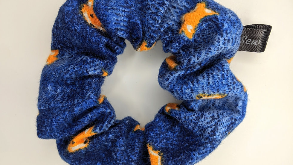 Blue scrunchie with fox prints