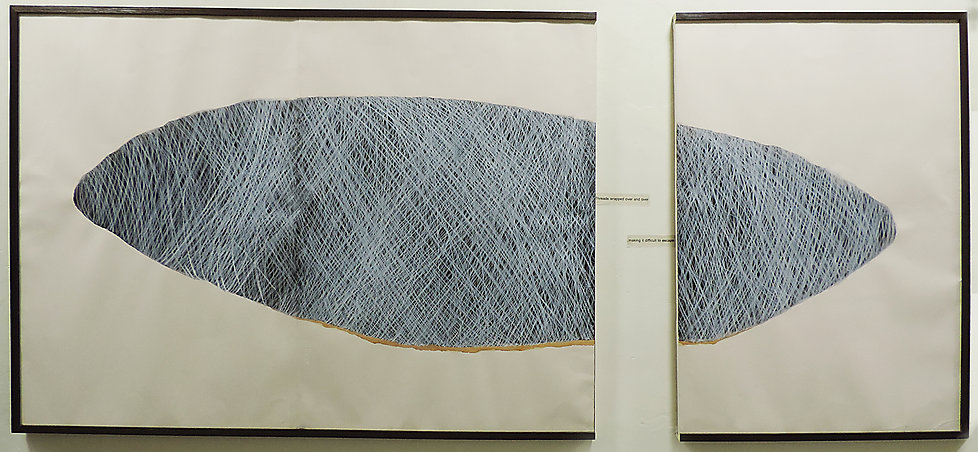 Artist Parul Gupta's diptych for 'The Falling Leaf: On Entropic Currents', aproject conceptualised by Adwait Singh with the students from College of Art, New Delhi for the Students' Biennale 2016.