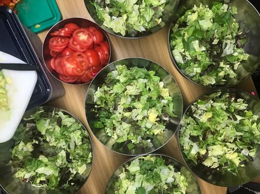Salat in der Vorbereitung