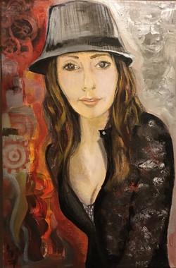 Self-portrait. Acrylics on canvas.