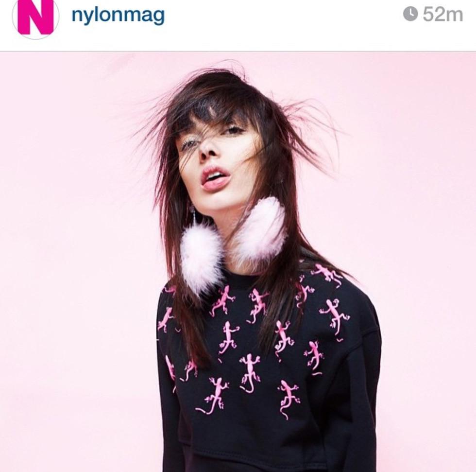 3D lizard sweatshirt featured in Nylon Magazine