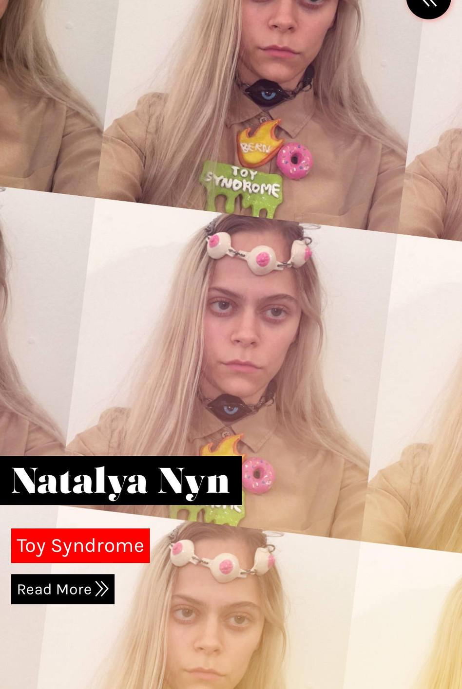 Natalya featured in 'Selfie' editorialfor Galore Magazine wearing Toy Syndrome brooches and necklace