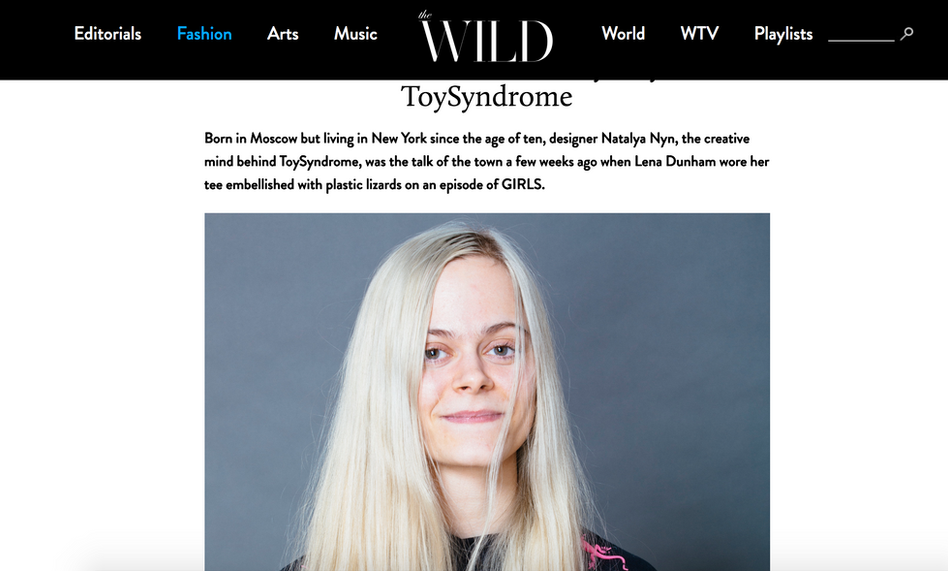 Natalya featured in The Wild Magazine wearing Toy Syndrome