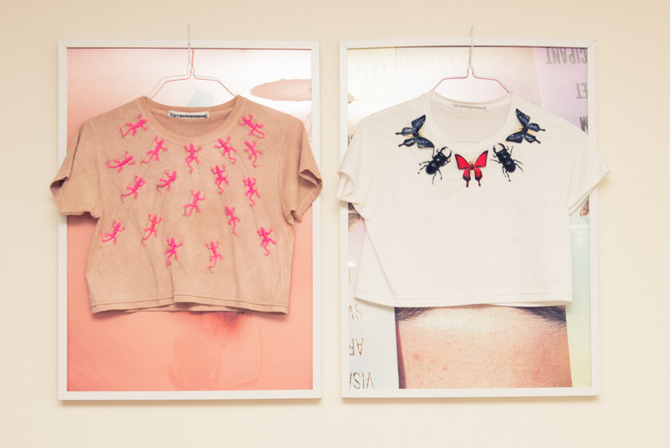 3D Lizard and Butterfly crop shirts selected by Tavi Gevinson for the Coveteur