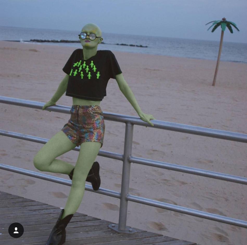3D Alien crop shirt worn by Melanie Gaydos
