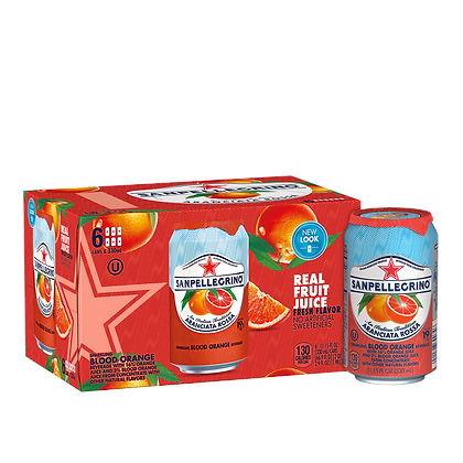 San Pellegrino Aranciata Rossa/Blood Orange (6 pack)