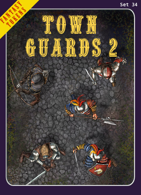 Fantasy Tokens Set 34, Town Guards 2