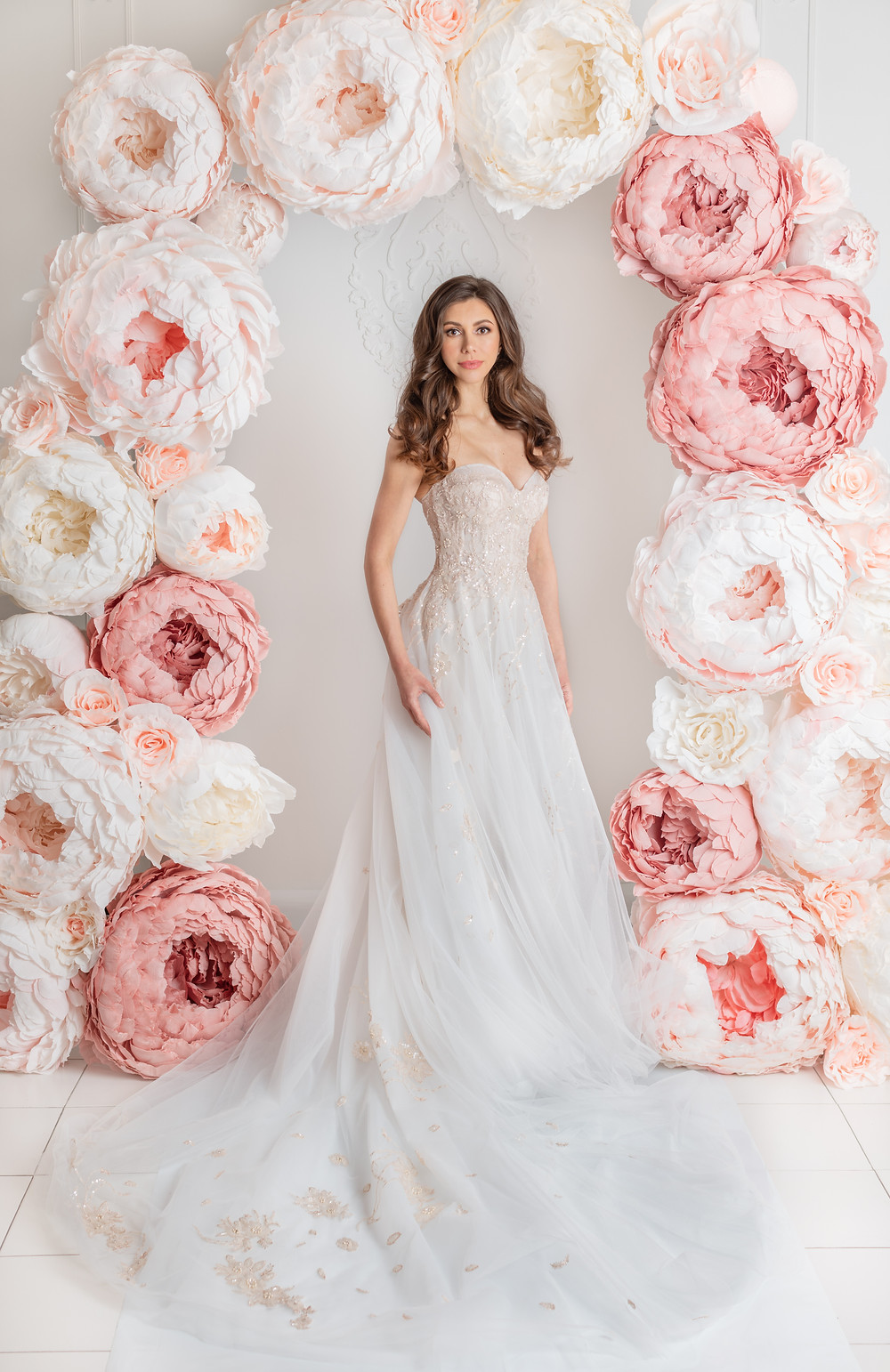 A-line tulle wedding dress