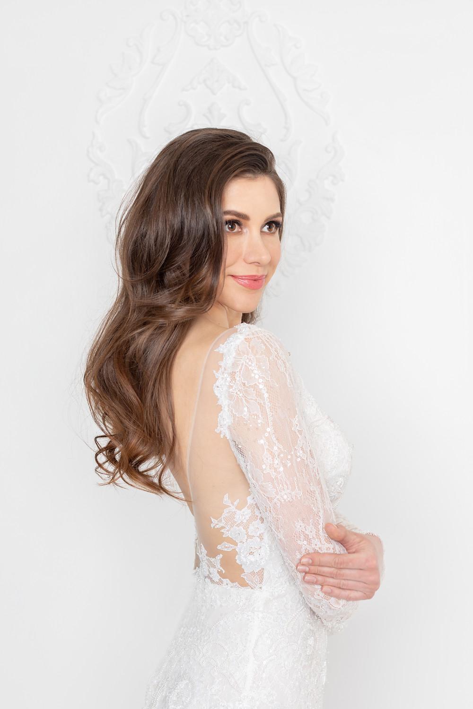 Low back mermaid lace wedding dress