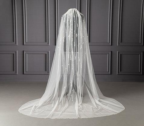 Beads and 3D flower appliques wedding veil