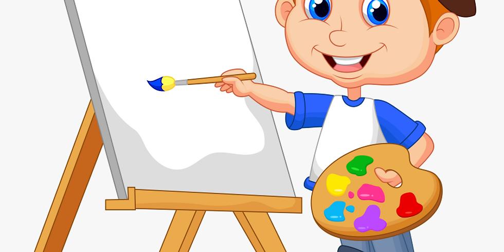 Schilder een vrolijk schilderij