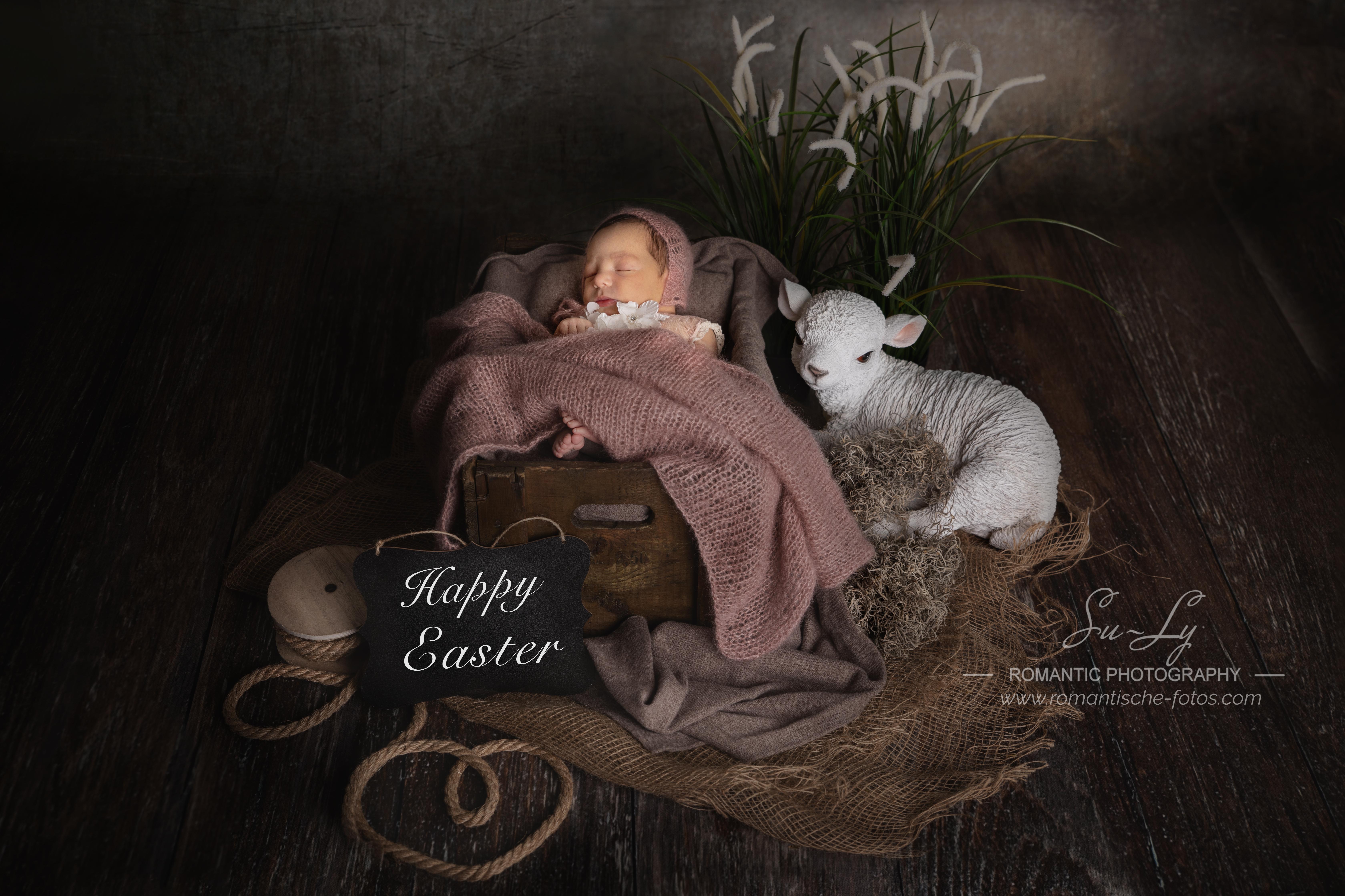 Neugeborenenfoto zu Ostern