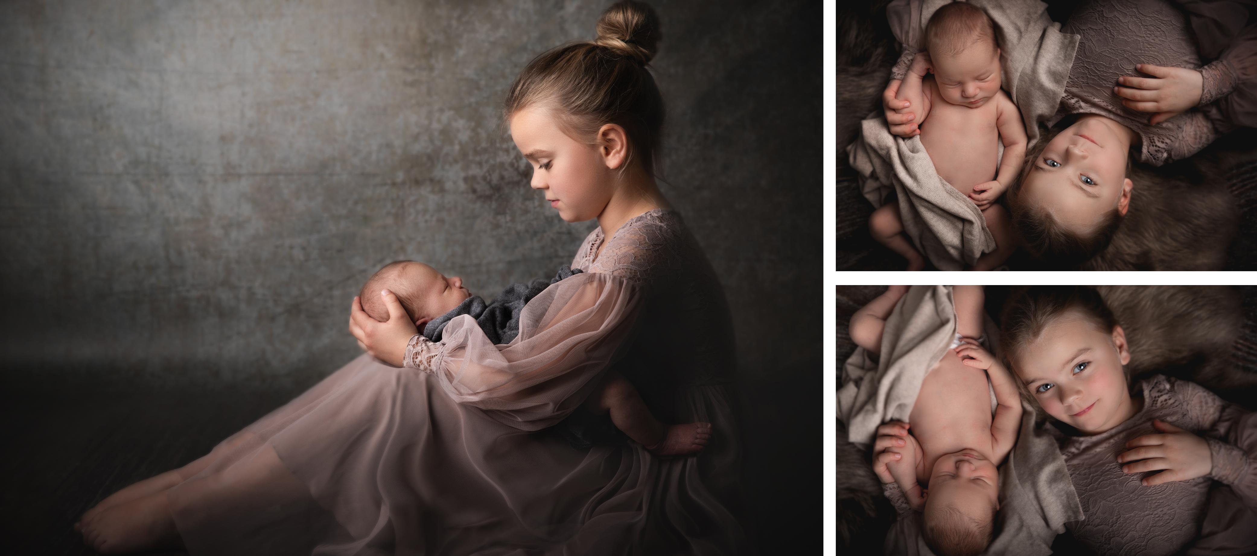 Newbornfoto mit grosser Schwester