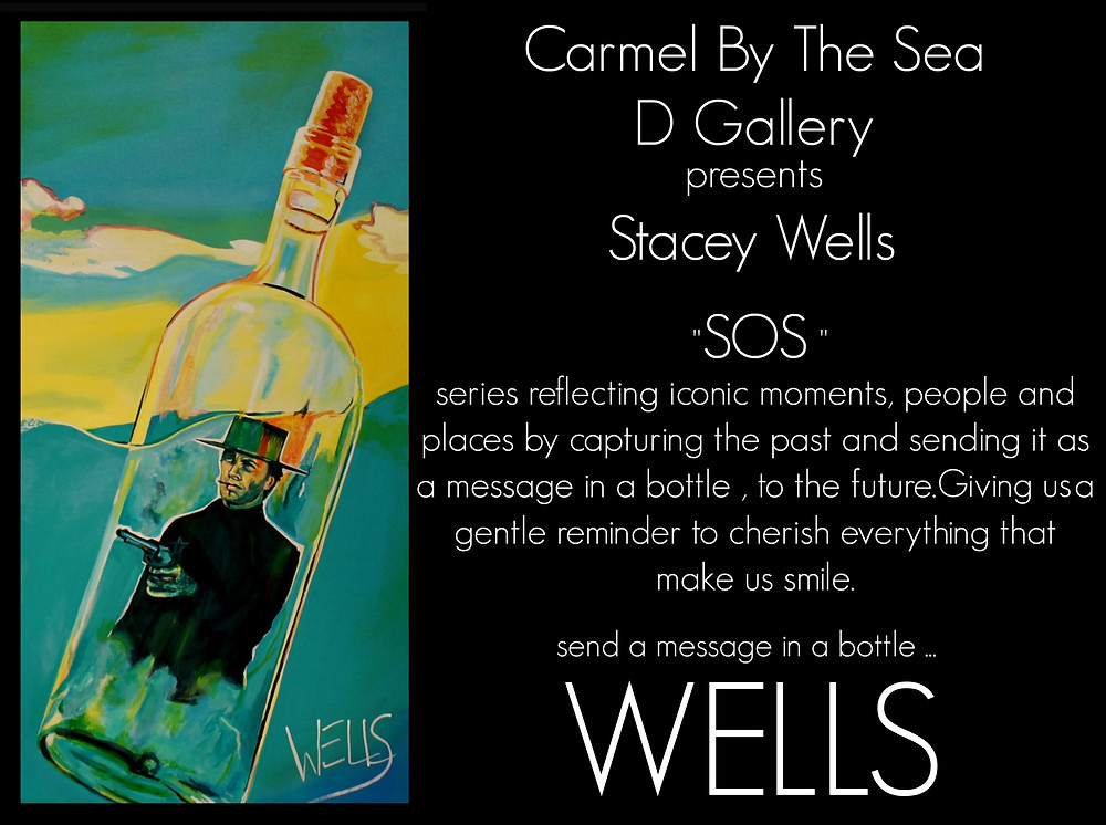 Stacey Wells wine art, featuring Clint Eastwood in Carmel
