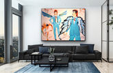 David Bowie art in living room Stacey Wells