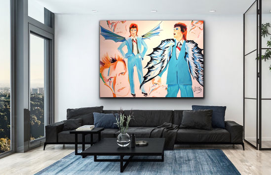 David Bowie art in living room Stacey Wells