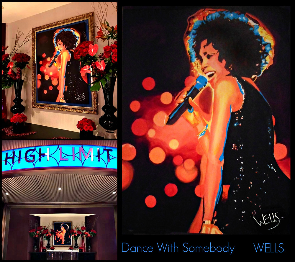 Stacey Wells painting of Whitney Houston