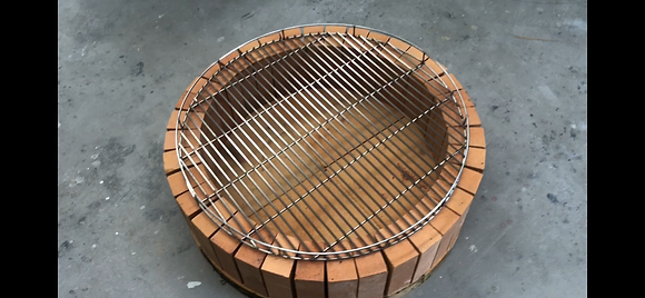 Brick fire pit with stainless steel grill 800mm
