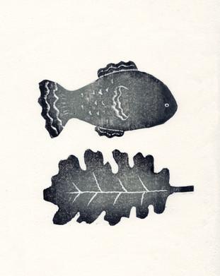 葉っぱと魚