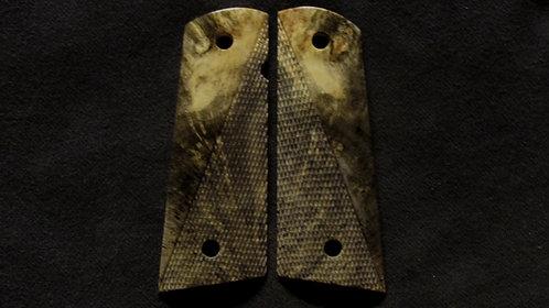 1911 Full Size Half Checkered Buckeye Burl #007