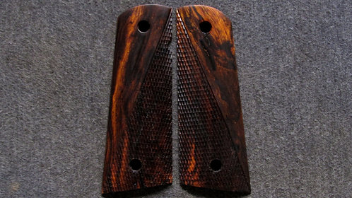 Full Size Half Checkered 1911 Ironwood Magwell grips #40