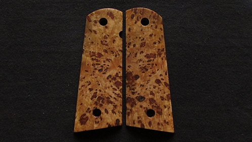 1911 Full Size Maple Burl Magwell grips #39