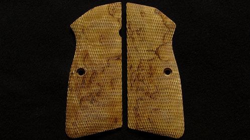 Browning Hi Power Full Checkered Karelian Birch grips #1