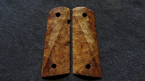 Les Baer Full Size Half Checkered 1911 Maple Burl grips #16