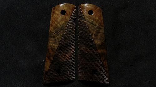 Full Size 1911 Claro Walnut Half Checkered  grips #40
