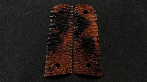 Full Size Full Checkered 1911 Ironwood Burl Magwell grips #44