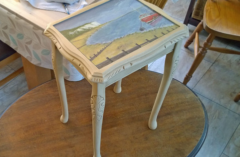 Upcycled, Aged Effect, Hand Painted Side Table