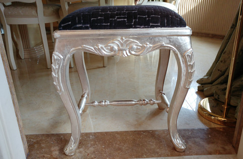 Dressing Table Stool, Finished In Silver Leaf And Aged
