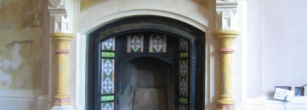 Multi Effect Faux Marbled Fireplace