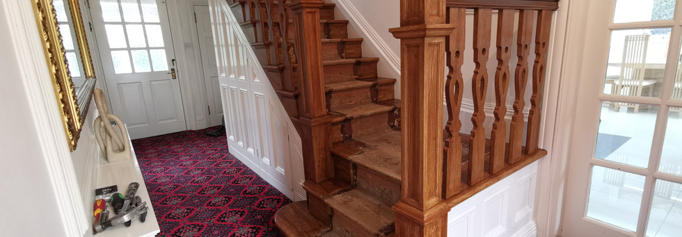Wood grained staircase