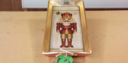 Guilded gold leaf Christmas Nutcracker tray
