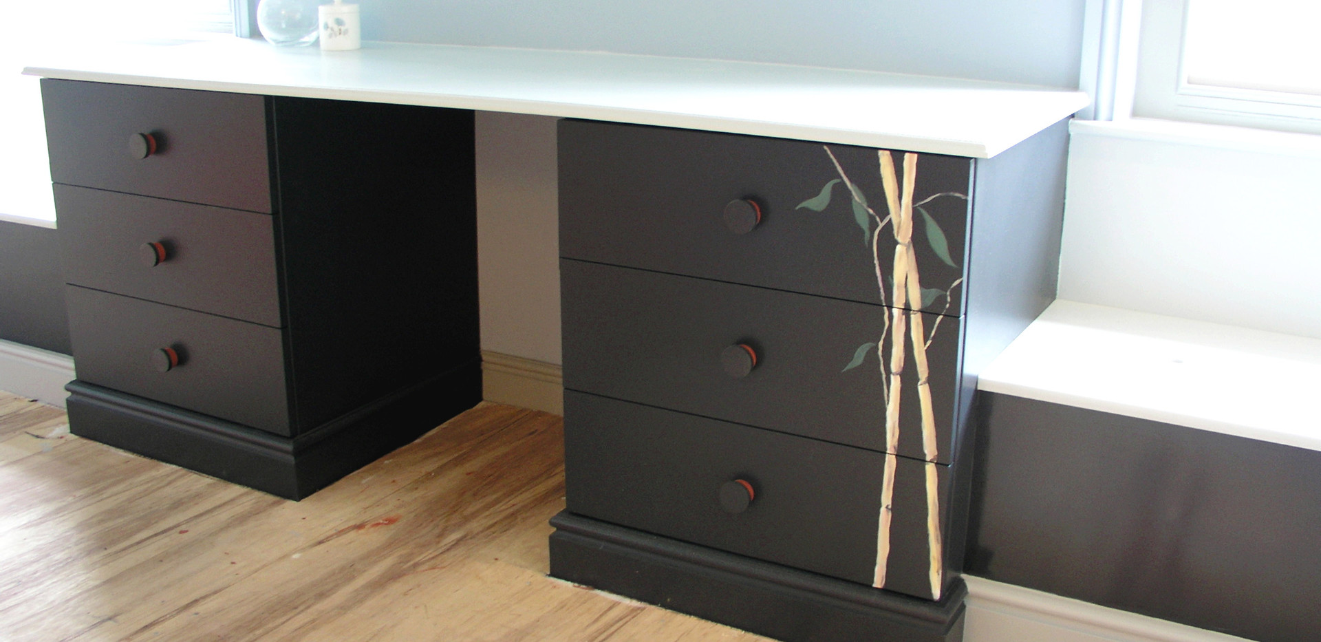 New, Oriental Style, Hand Painted Dresser Unit