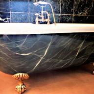Dark Green Faux Marbled Bath
