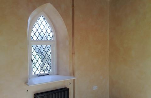 Aged sandstone effect walls