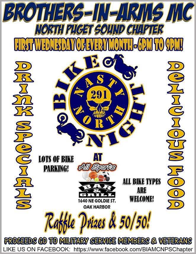 Bike Night  5050 and raffle prizes Flyer