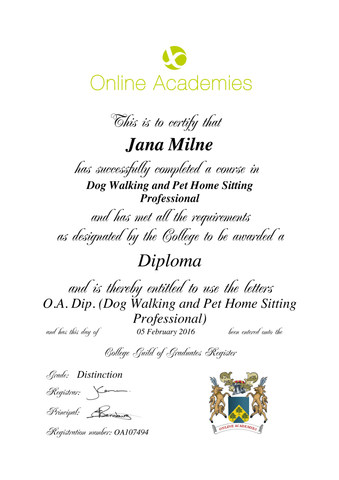 Dog walking certificate