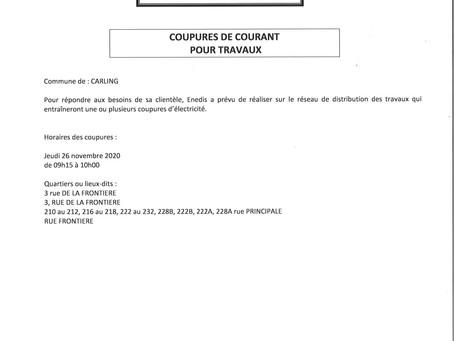 26.11.2020 : COUPURE DE COURANT POUR TRAVAUX