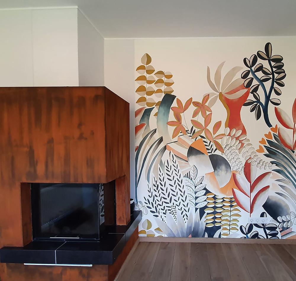 Peinture effet rouille salon Luxembourg