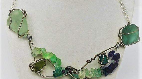 Tidal Series Beach Glass & Gemstone Necklace