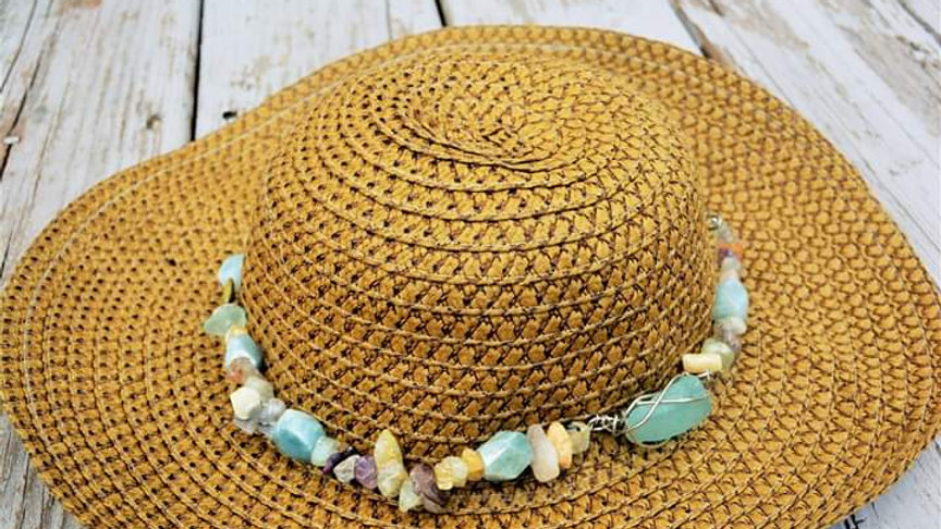 Weighted Hat With Beach Glass And Raw Gemstone Hatband