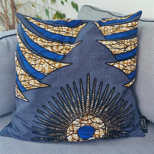 Coussin Blue Paon, 50x50cm - Atelier Ethnik