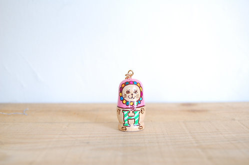 「H」ミニ猫キーホルダー ピンク