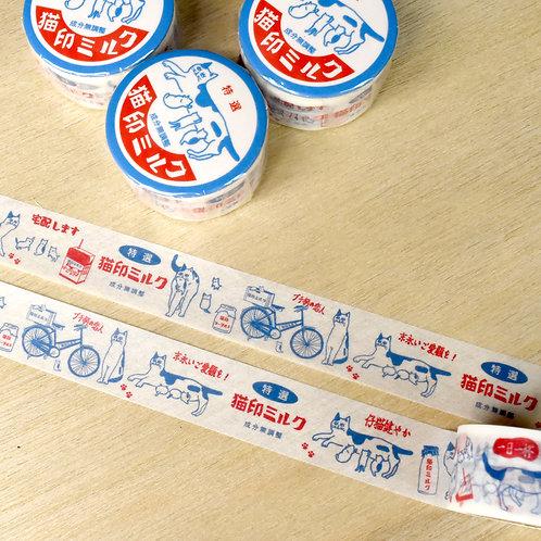 猫印ミルク マスキングテープ(缶バッジ付)