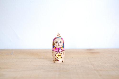 「S」ミニ猫キーホルダー ピンク