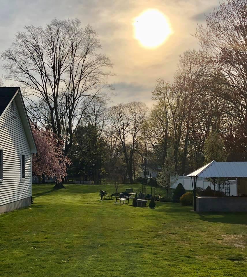 Sun getting ready to set over the Memorial Garden